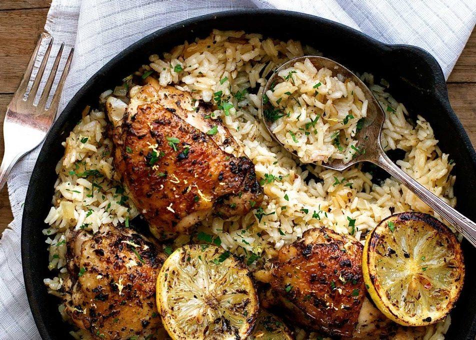 One Pot Greek Chicken With Lemon Rice Mediterranean Diet Roundtable