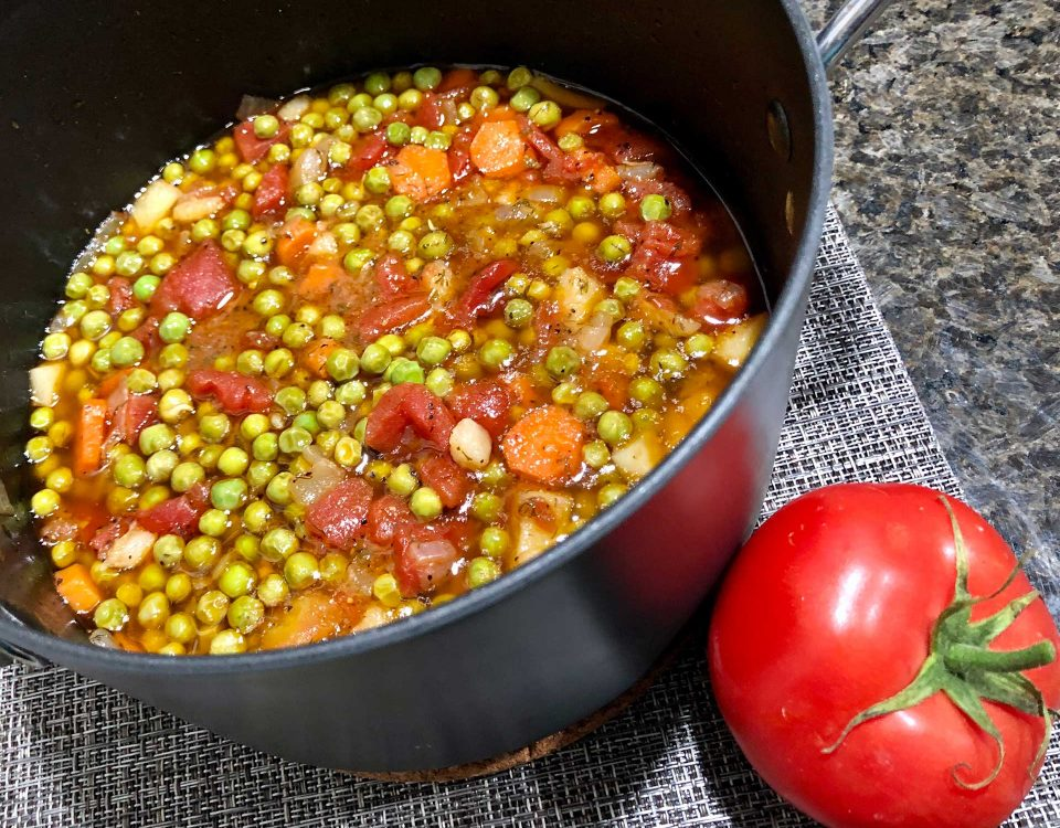 Greek-Style Pea casserole Peas are stewed in a rich tornato sauce with carrot and potato in this delicious casserole that can be enjoyed as a main course with some good feta and bread.